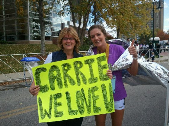 2012: Marathon debut at the Baystate Marathon - I had an excellent cheer squad!