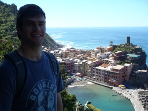 Douglas overlooking the next town down from Monterosso, called Vernazza