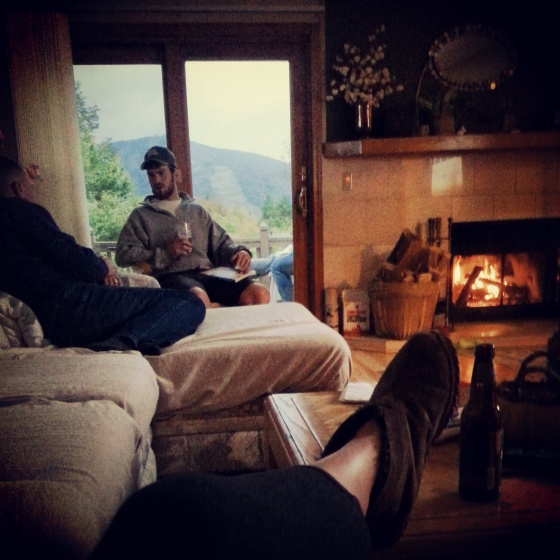 Mike's Vermont condo. Mount Snow + a fireplace + a cozy couch = Paradise